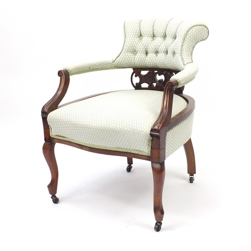 2008 - Mahogany framed bedroom chair with button back upholstery, 80cm high...