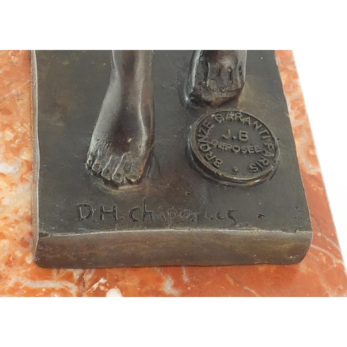 2022 - Large patinated bronze figure of an Art Deco dancer after D H Chiparus, raised on a stepped marble b...