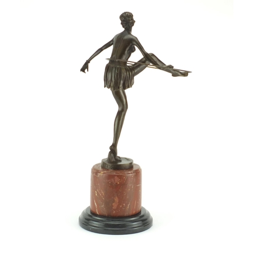 2004 - Large patinated bronze figure of an Art Deco semi nude hula hoopist after D Alonzo, raised on a circ...