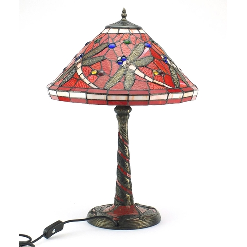 2015 - Tiffany design table lamp with dragonfly shade, 59cm high...