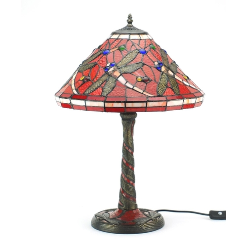 2038 - Tiffany design table lamp with dragonfly shade, 59cm high...