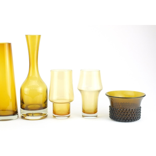 2047 - Scandinavian glassware including vases by Riihimaki, three with stamps, the largest 31cm high...