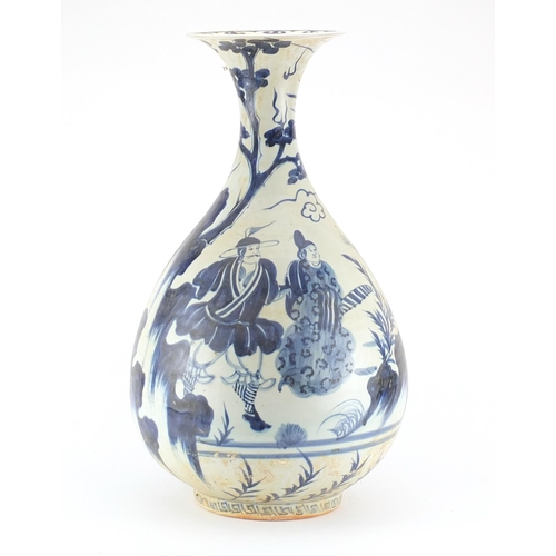 2039 - Large Chinese blue and white porcelain vase, hand painted with figures, warriors and figures, 60cm h...