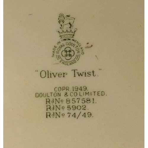2050 - Seven Royal Doulton Series Ware jugs including Oliver Twist, Peggotty and Oliver Asks For More, the ...