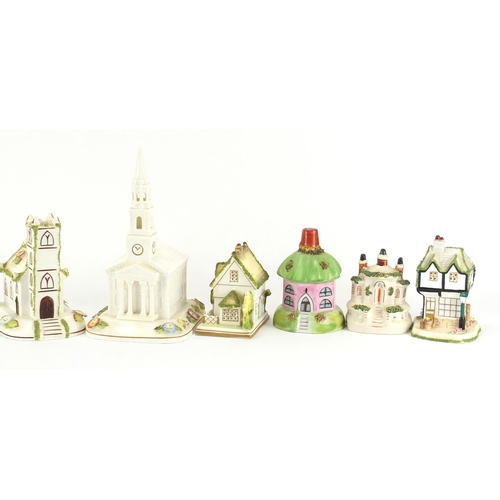 2046 - Eleven pastille burners, seven by Coalport including The American Church, Village Church and Pagoda ...
