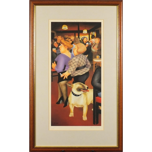 2025 - Beryl Cook - Figures at a bar, pencil signed print in colour with embossed watermark, mounted and fr...