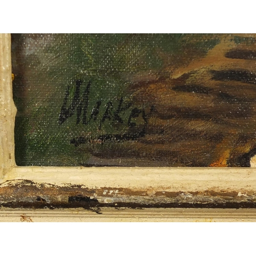 2055 - Figures before cottages and mountains, Irish school oil, bearing a signature Markey, framed, 49cm x ...