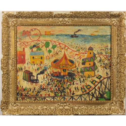 2023 - Fairground by the sea, oil on canvas, bearing a signature Yates, framed, 48.5cm x 39cm...