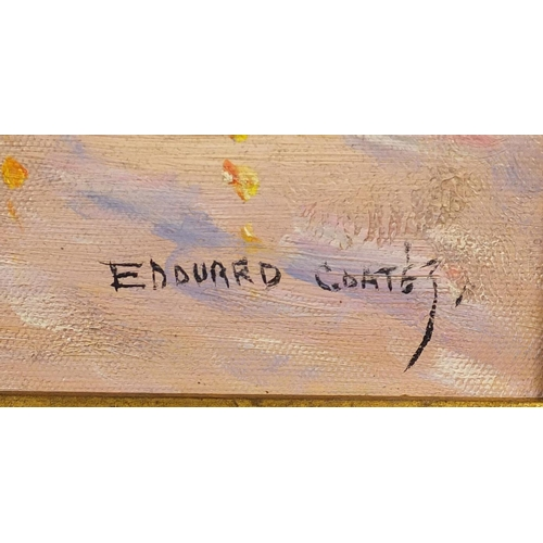 2024 - Manner of Edward Coates - The Arc de Triomphe, oil on board, mounted and framed, 60cm x 50cm...