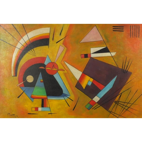 2028 - Abstract composition, Russian school oil on board, bearing a monogram CK, framed, 75cm x 50cm...