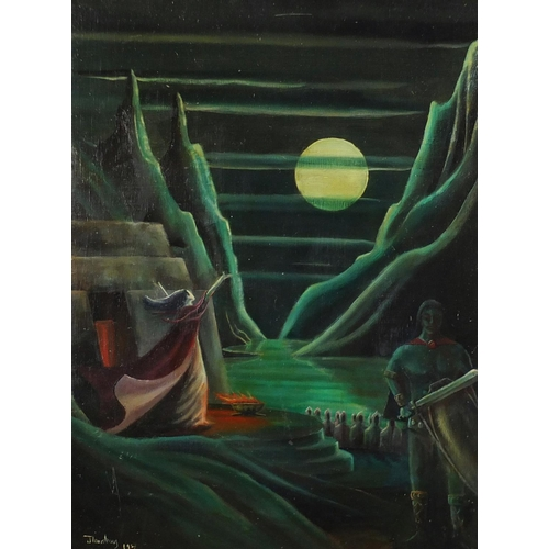 2027 - Knight before water, surreal school oil on board, bearing a signature J Armstrong, framed, 60cm x 44...