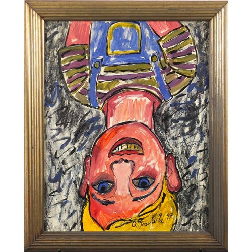 2060 - Portrait of a young boy, oil, bearing an indistinct signature possibly G Baselitz, framed, 49.5cm x ...