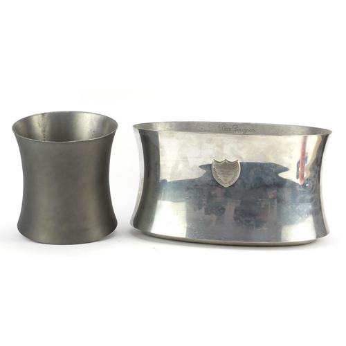 2040 - Two Dom Pérignon champagne metal ice buckets, the largest 39.5cm wide...