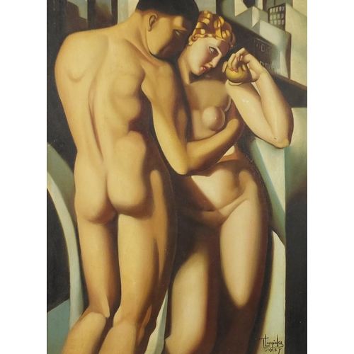 2058 - After Tamara de Lempicka - Two nude Art Deco figures, oil on board, framed, 58.5cm x 43cm...