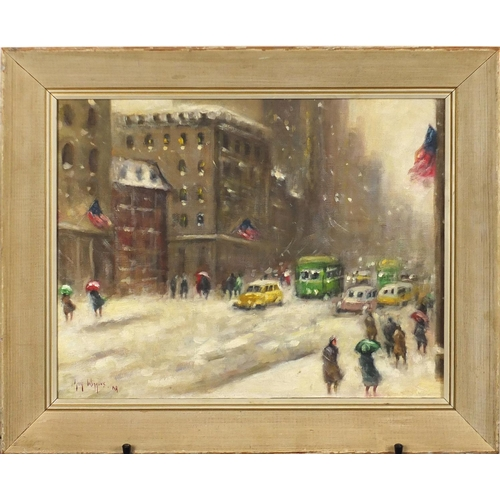 2054 - After Guy Wiggins - American snowy street scene, oil on board, mounted and framed, 44.5cm x 35cm...