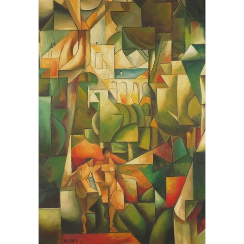2026 - Abstract composition, cubist figures before a landscape, French school oil on board, bearing a signa...