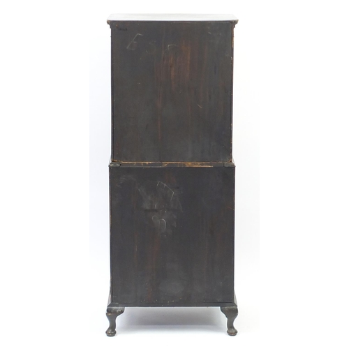 2003 - Walnut bow front chest on chest with seven drawers and brushing slide, 158cm H x 62cm W x 46cm D...