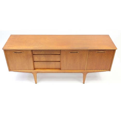 2001 - Vintage Jentique teak sideboard with two sliding doors, three drawers and a drop down door, 75cm H x...