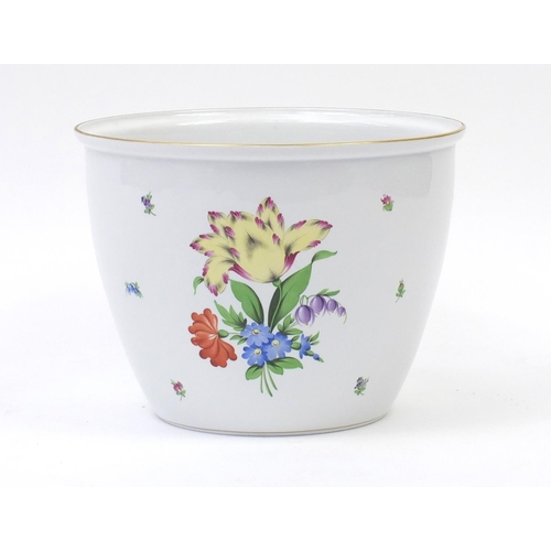 2021 - Large Herend of Hungary porcelain planter hand painted with flowers, 31cm high x 41cm in diameter...
