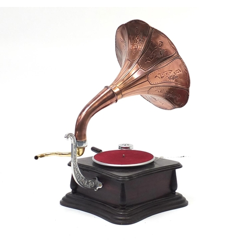 2018 - Retro Victrola gramophone with copper horn...