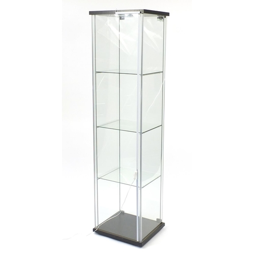 2037 - Illuminated glass shop display case with key, 163cm H x 43cm W x 37cm D...