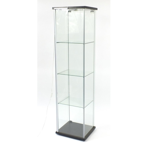 2036 - Illuminated glass shop display case with key, 163cm H x 43cm W x 37cm D...