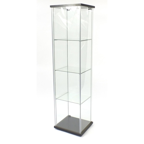 2035 - Illuminated glass shop display case with key, 163cm H x 43cm W x 37cm D...
