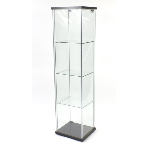 2034 - Illuminated glass shop display case with key, 163cm H x 43cm W x 37cm D...