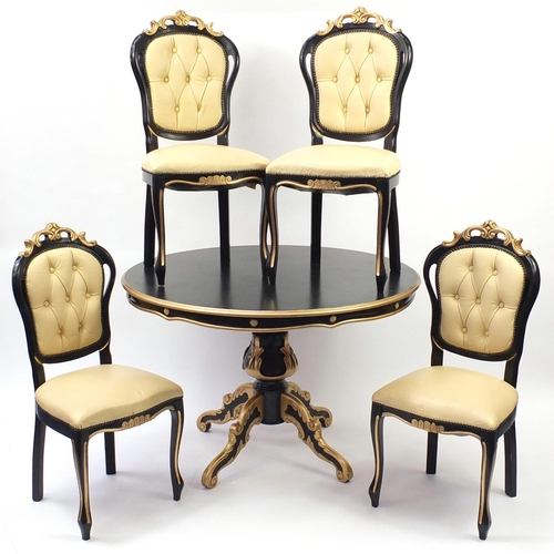 2007 - Italian style black and gold painted circular dining table and four chairs, with cream leather butto...