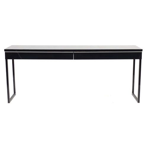 2016 - Black high gloss console table with two drawers, 74cm H x 180cm W x 40cm D...
