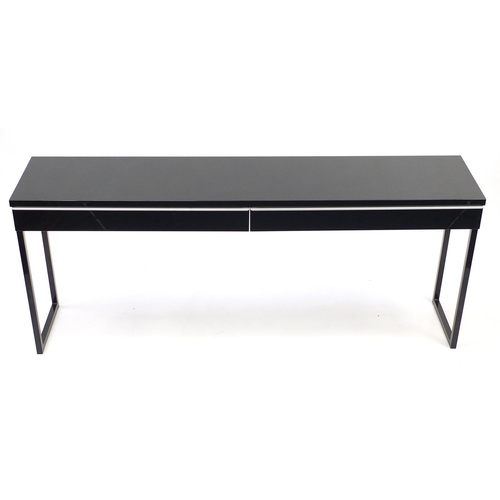 2005 - Black high gloss console table with two drawers, 74cm H x 180cm W x 40cm D...