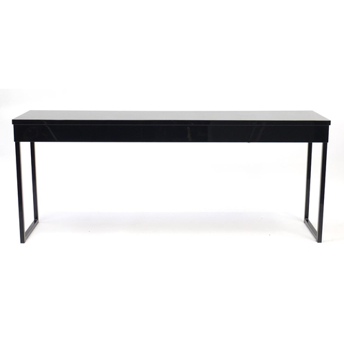 2006 - Black high gloss console table with two drawers, 74cm H x 180cm W x 40cm D...