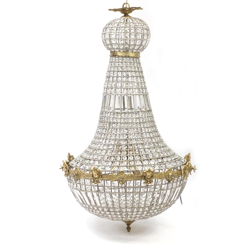 2029 - Large ornate gilt brass and glass chandelier, 110cm high...