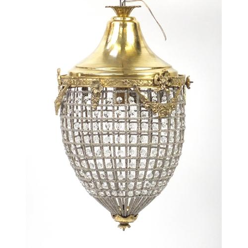 2033 - Ornate gilt metal and glass bag chandelier, 60cm high...