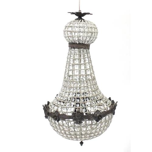 2031 - Ornate gilt metal and glass chandelier, 70cm high...