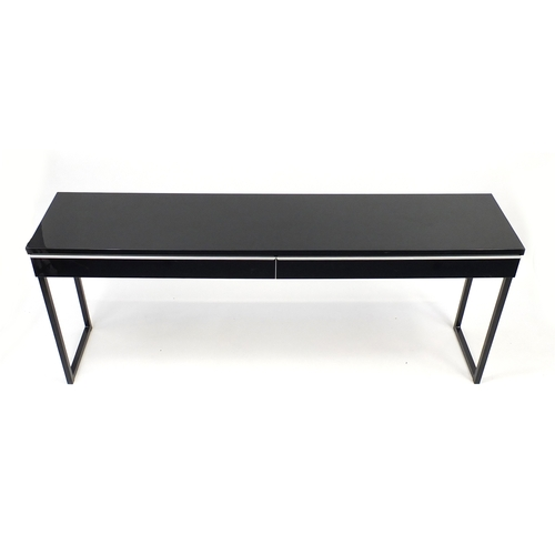 2017 - Black high gloss console table with two drawers, 74cm H x 180cm W x 40cm D...