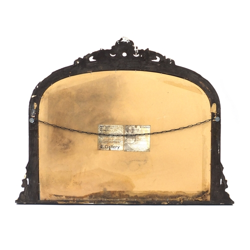 2012 - Italian style black and gold painted over mantel mirror, 90cm H x 118cm W...