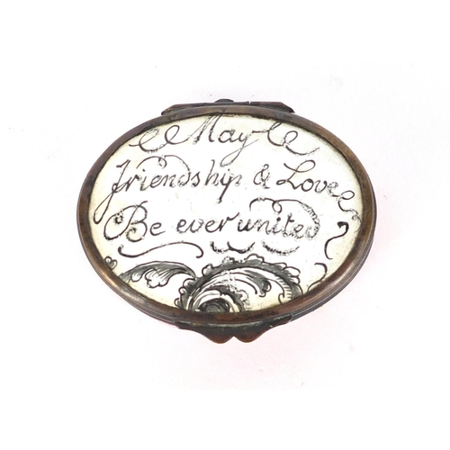 43 - 18th century Bilston enamel patch box, the hinged lid inscribed 'May Friendship and Love be Ever Uni...