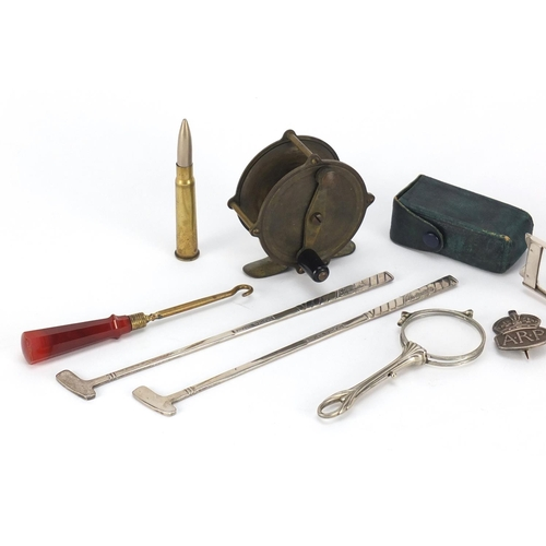 59 - Objects including a trench art bullet design knife, agate handle button hook, Victorian brass fishin...