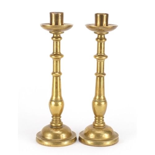 18 - Pair of antique continental bronze candlesticks, each 31.5cm high...