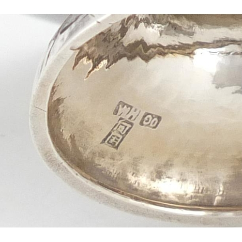 592A - Pair of Chinese silver sweetmeat dishes with twin handles by Wang Hing, each engraved with a bird am...
