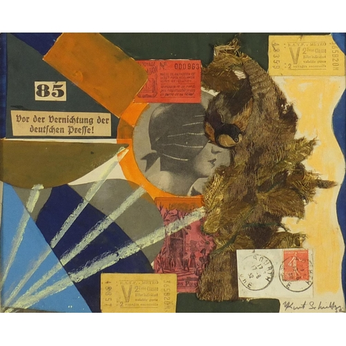 1260 - Manner of Kurt Schwitters - Abstract composition, German school mixed media and collage, mounted and...