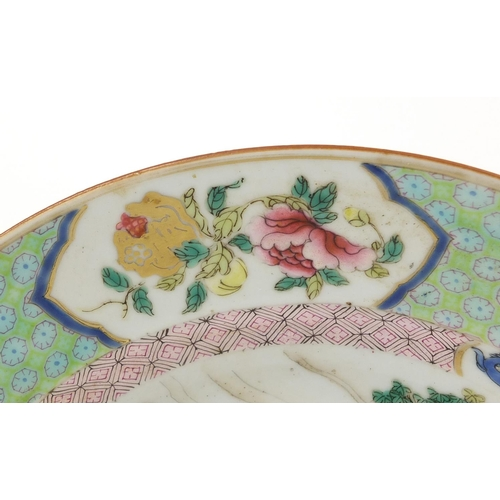 382 - Good Chinese porcelain plate, finely hand painted in the famille rose palette with figures outside o...