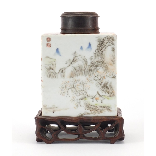 383 - Good Chinese porcelain tea caddy by Tang Yin, finely hand painted with peach blossom and mountain ri...