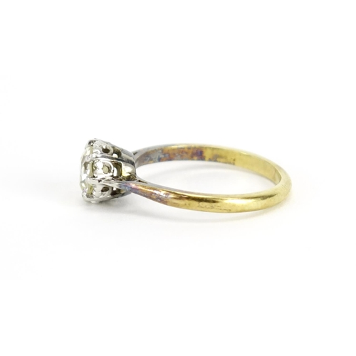 962 - 18ct gold diamond solitaire ring, approximately 1.25ct, size O, 3.2g...