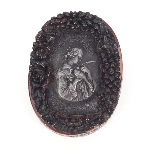 50 - French pressed snuff box, the lift off lid decorated with a female holding a bird, signed to the bas...