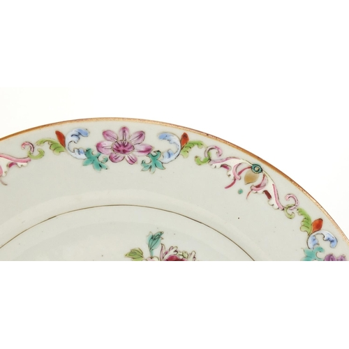 384 - Chinese porcelain plate, hand painted in the famille rose palette with cranes amongst flowers, 23cm ...