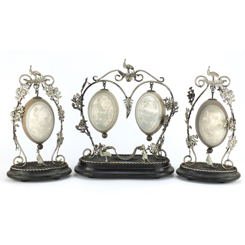 23 - ** WITHDRAWN FROM SALE ** Australian emu egg garniture with silver coloured metal mounts, the eggs c...