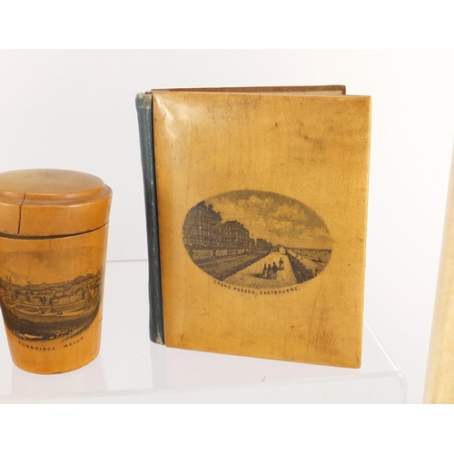 38 - Woodenware and reference books including Mauchline Ware pin cushion, Tunbridge Ware letter opener an...