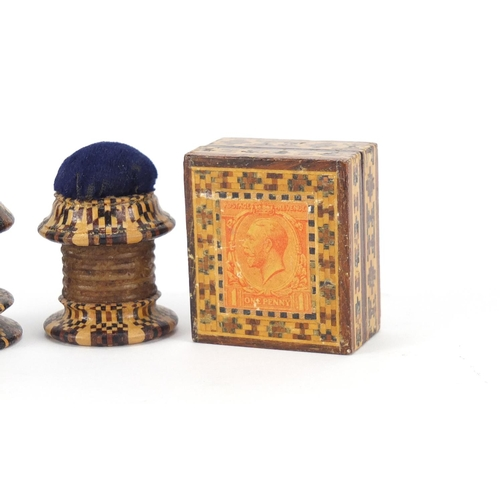 35 - Victorian Tunbridge Ware stamp box and two thread waxer pin cushions, the largest 3.5cm high...